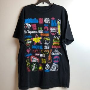 Hollywood Los Angeles neon signs t shirt size L
